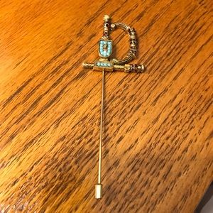 Unisex Multi Stone Gold Tone Sword Lapel Stick Pin